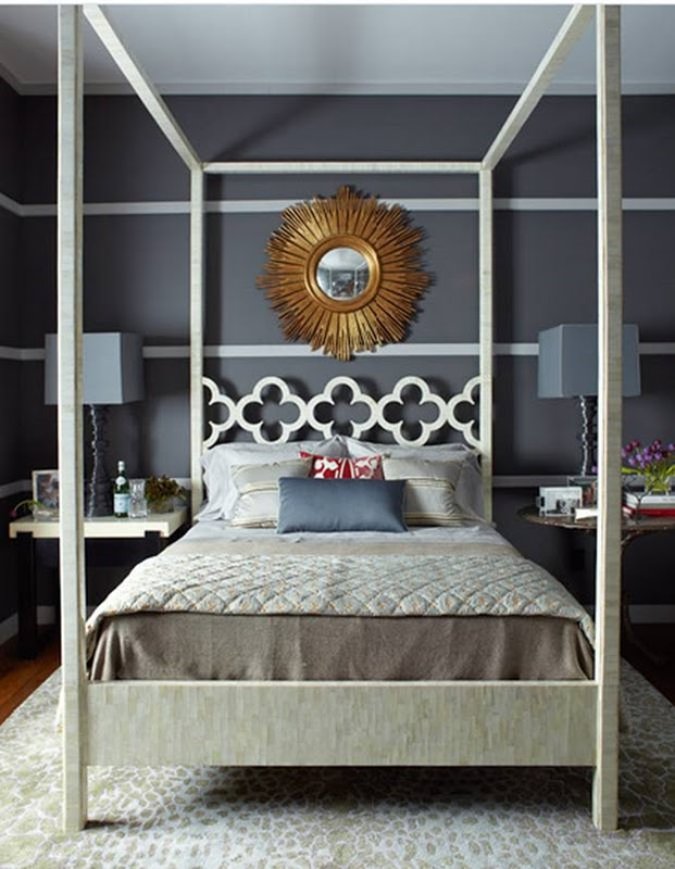 thom-filiicia-dark-grey-room-striped-walls-canopy- & Divine Design Deals on the Web | The English Room