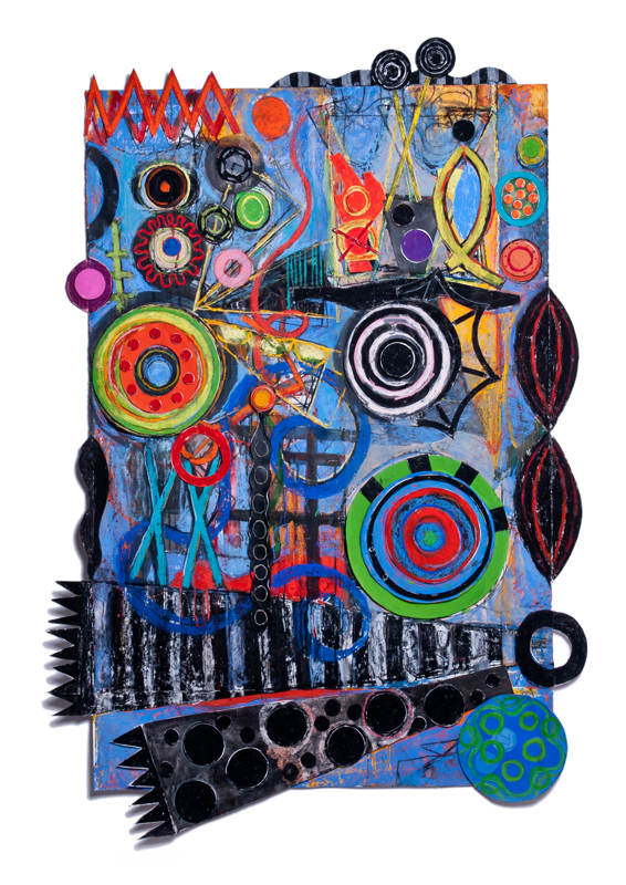 Geraldine_Neuwirth_Sound_Waves_Mixed_Media_With_Collage_On_Paper_68x47_2014